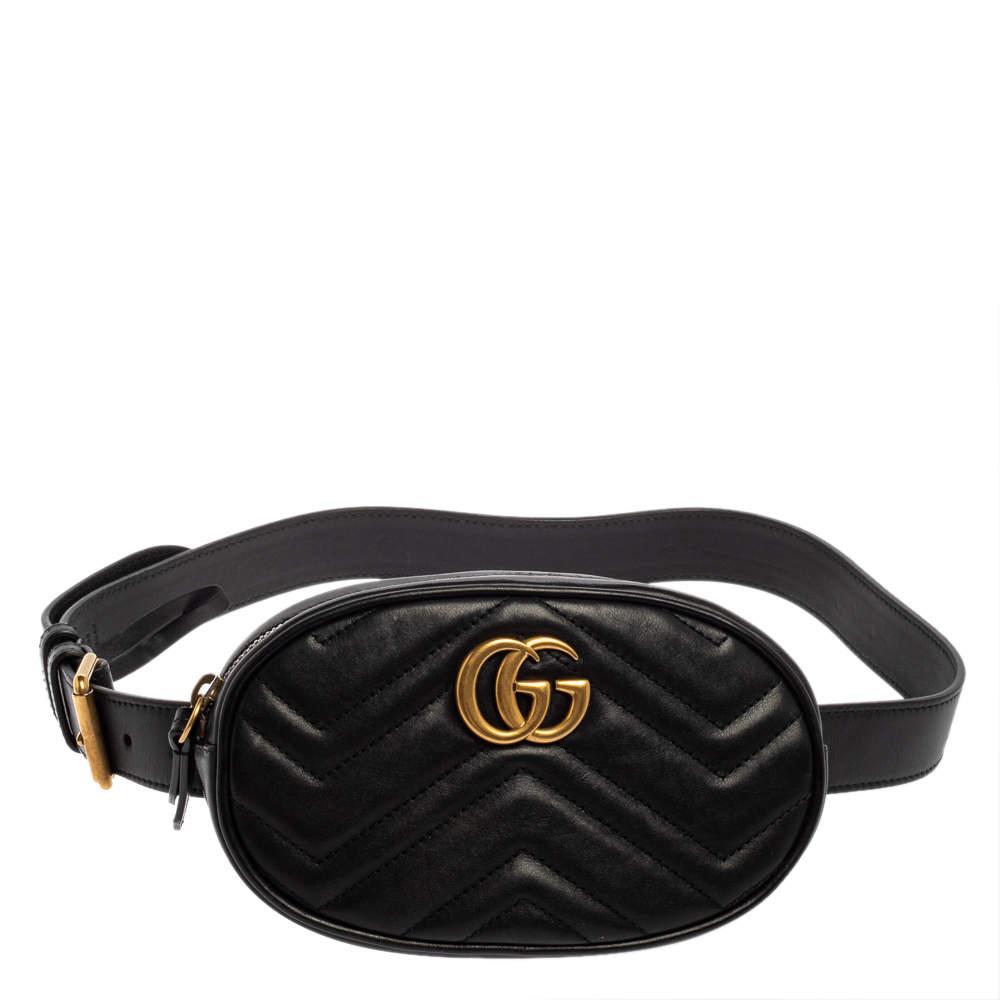 Gucci Black Matelasse Leather GG Marmont Belt Bag