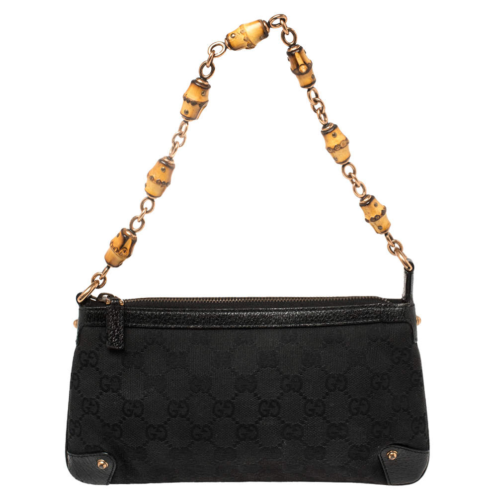 Gucci Black GG Canvas and Leather Bamboo Pochette Accessories