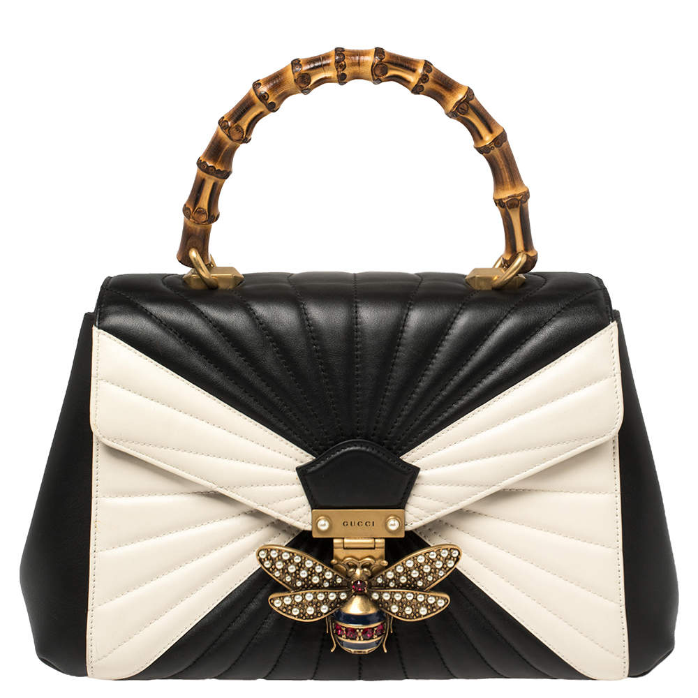 Gucci Black/White Quilted Leather Medium Queen Margaret Bamboo Top Handle Bag