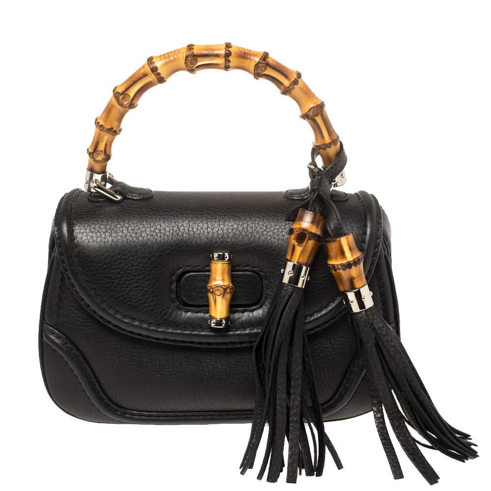 حقيبة يد غوتشي نيو بامبو جلد أسود صغيرة