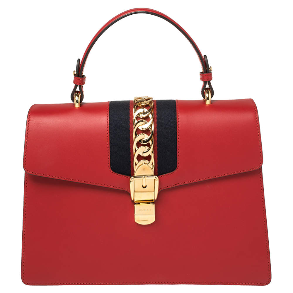 Gucci Red Leather Medium Sylvie Top Handle Bag