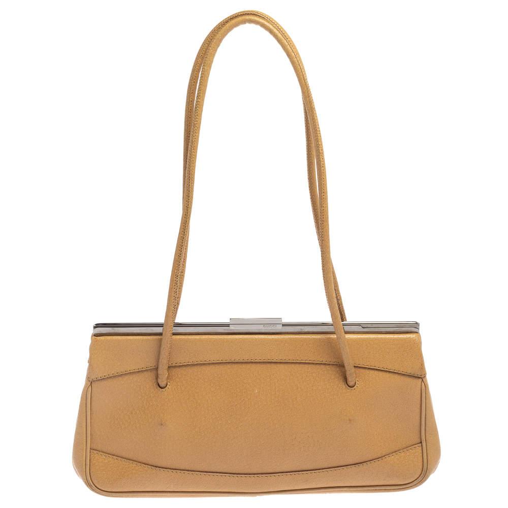 Gucci Beige Leather Vintage Slide Frame Shoulder Bag