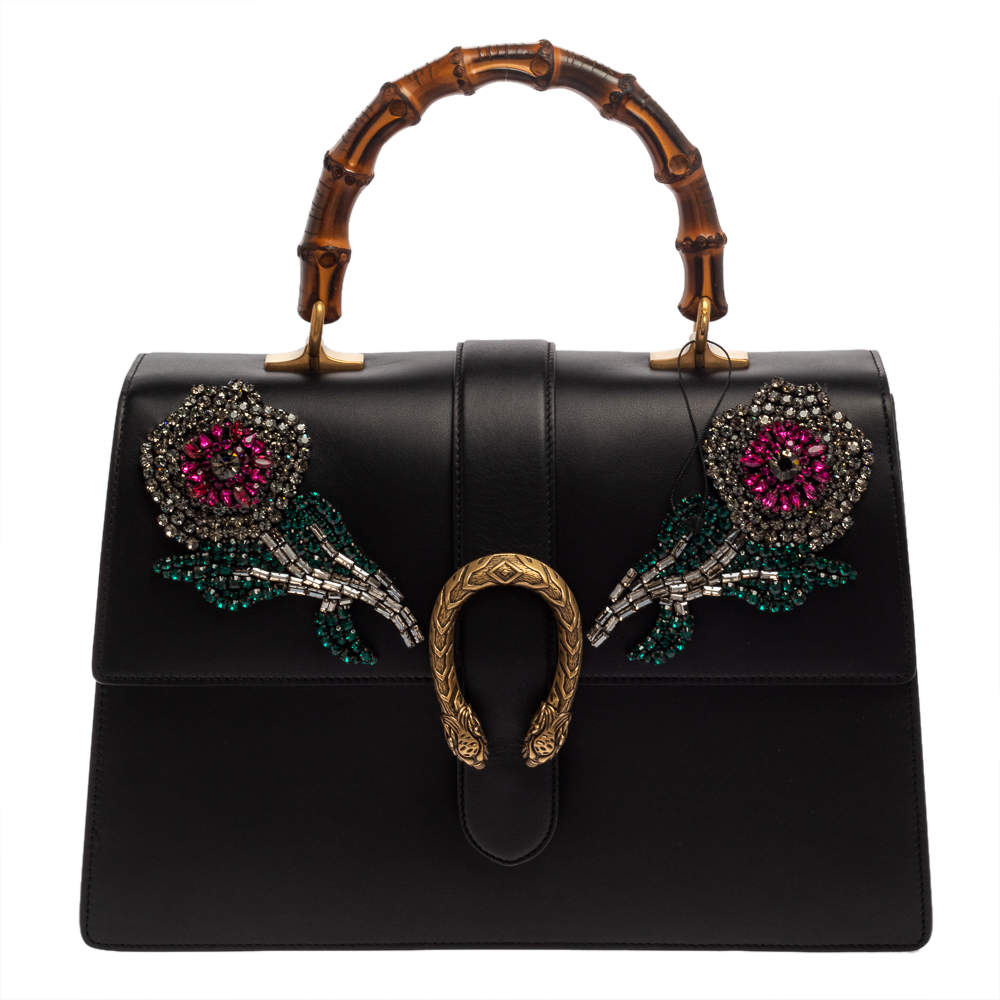 Gucci Black Crystal Embellished Leather Large Dionysus Bamboo Top Handle Bag