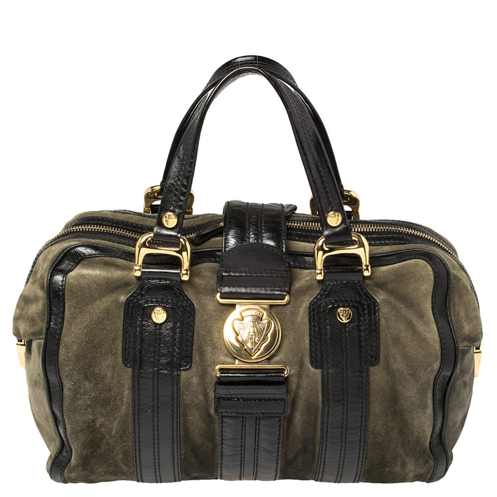 Gucci Black/Grey Suede and Patent Leather Aviatrix Large Boston Bag