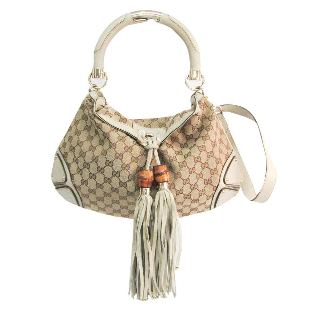 Gucci Beige/Brown GG Canvas Bamboo Indy Hobo Bag