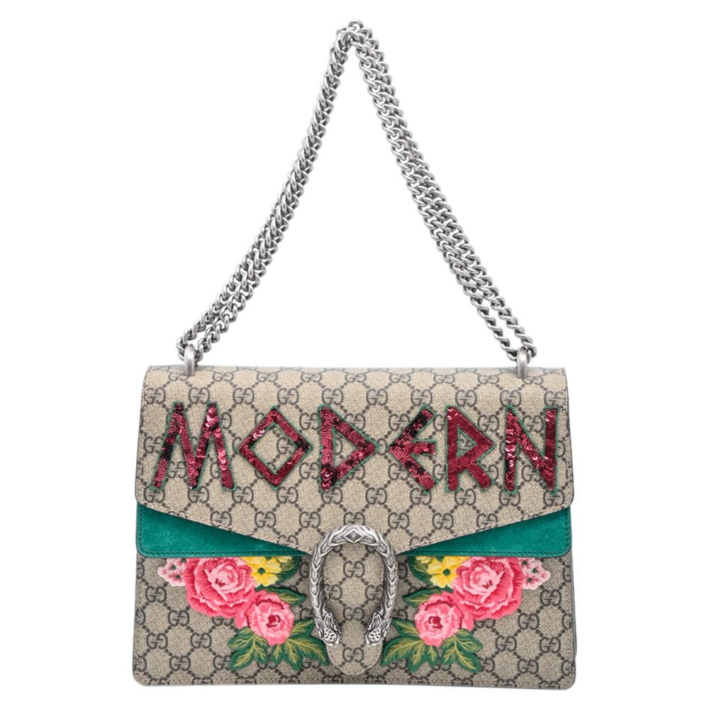 Gucci Brown and Tan GG Supreme Canvas Modern Dionysus Medium Bag