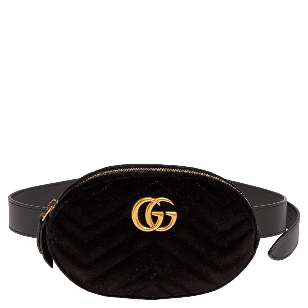 Gucci Black Matelasse Velvet GG Marmont Belt Bag