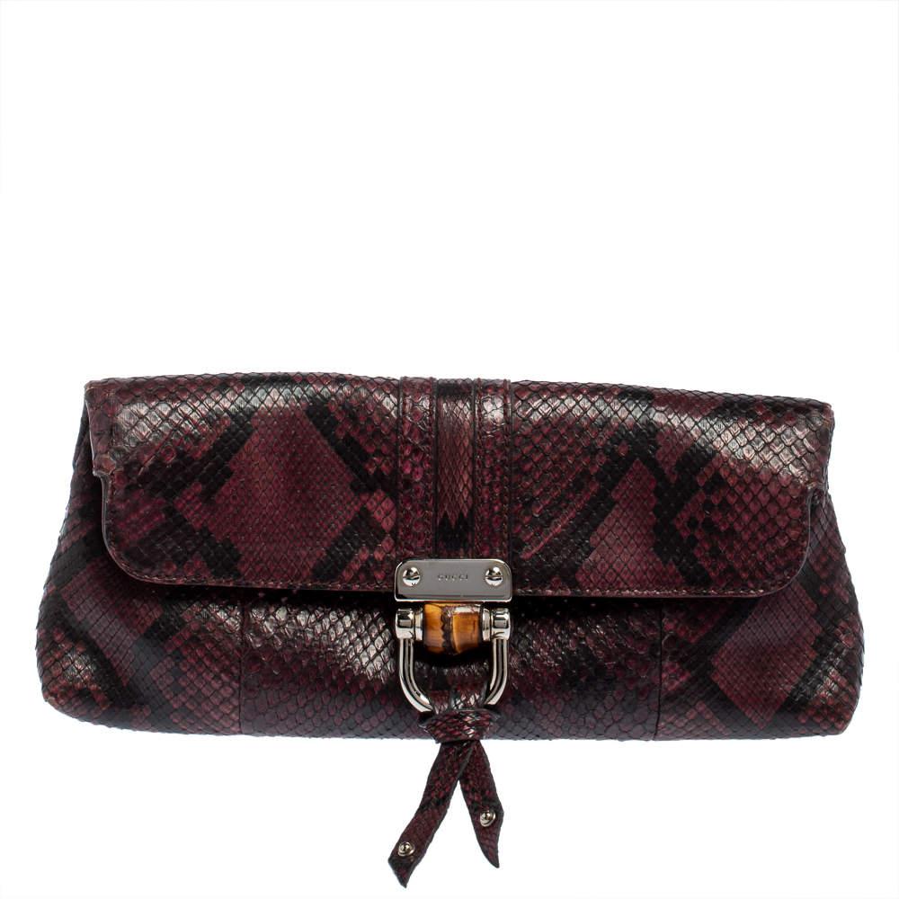 Gucci Purple/Black Python Bamboo Croisette Clutch