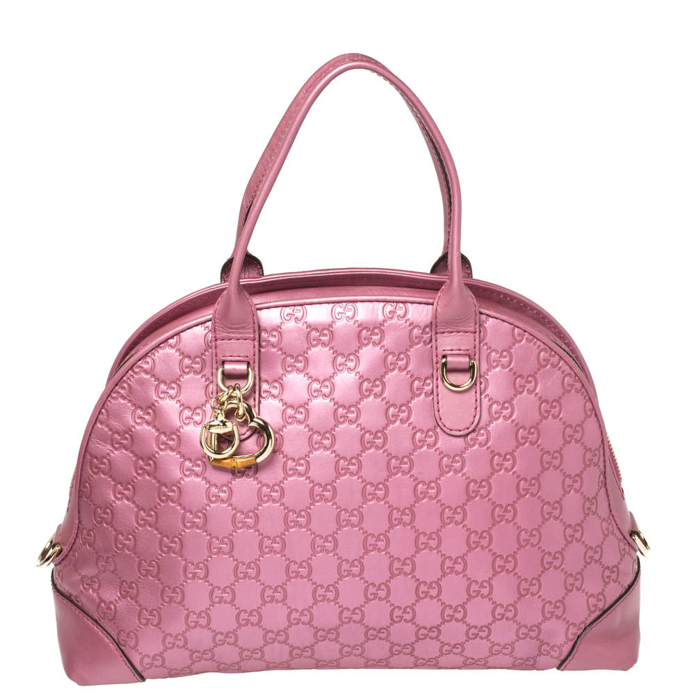 Gucci Metallic Pink Leather Medium Guccissima Heart Bit Top Handle Dome Bag