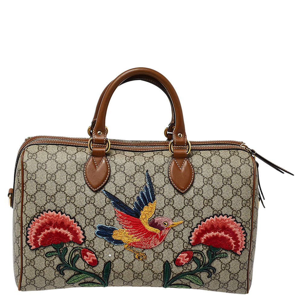 Gucci Beige/Brown GG Supreme Canvas and Leather Limited Edition Floral Boston Bag