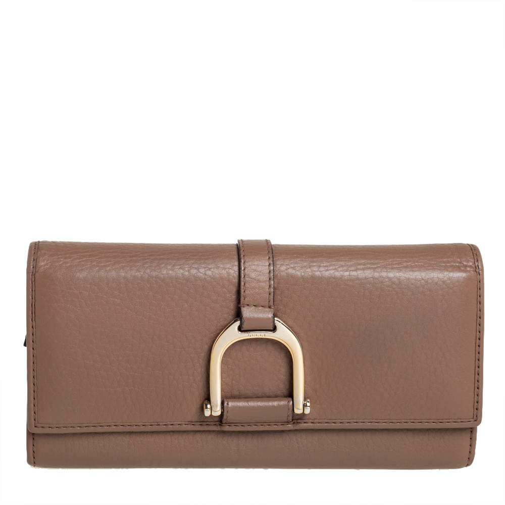 Gucci Brown Leather Abbey Continental Wallet