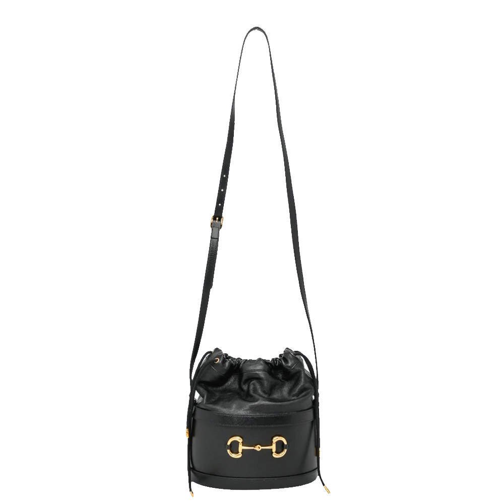 Gucci Black Leather Horsebit 1955 Bucket Bag