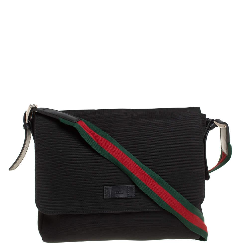 Gucci Black Techno Canvas Web Flap Messenger Bag
