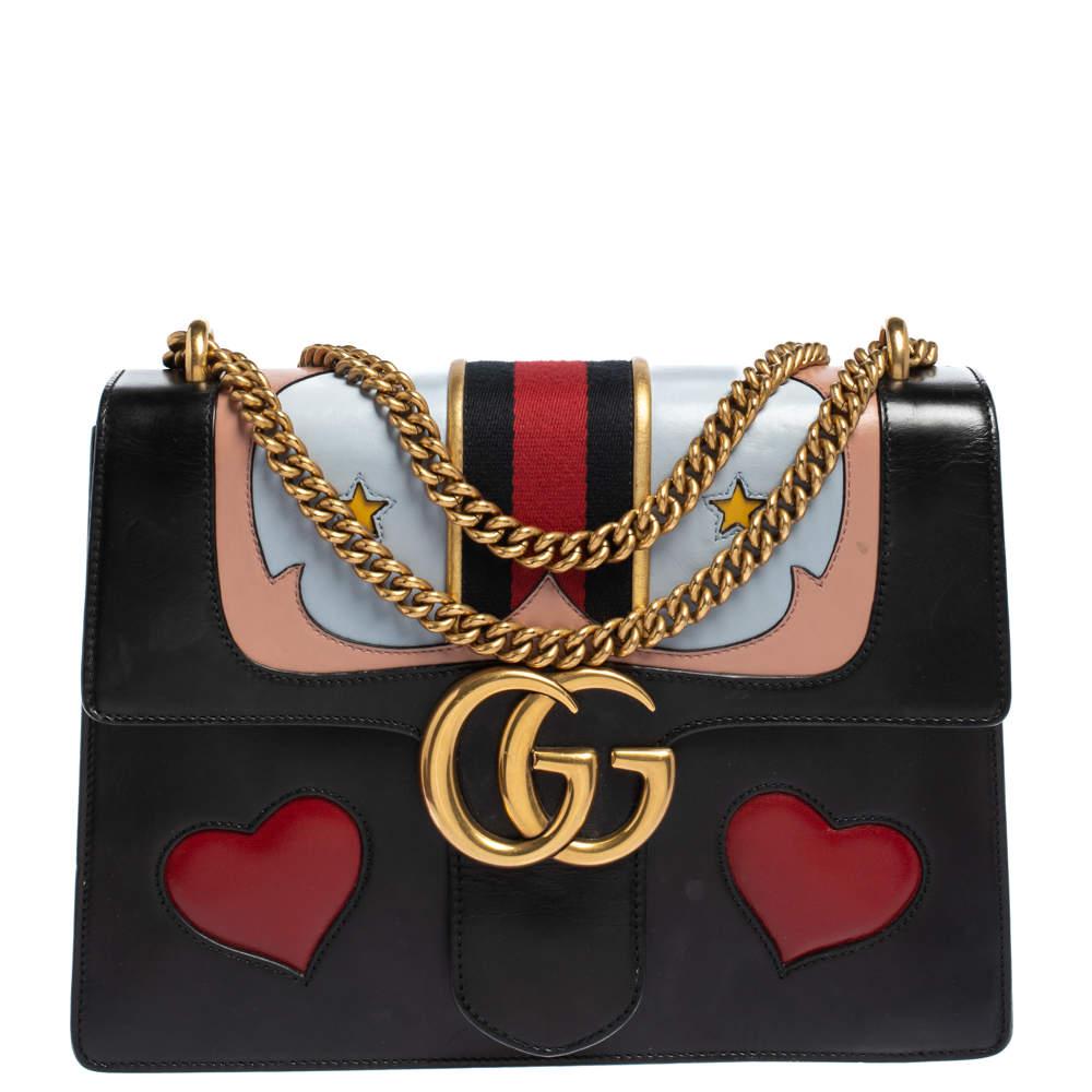 Gucci Black Leather Medium GG Marmont Heart Shoulder Bag