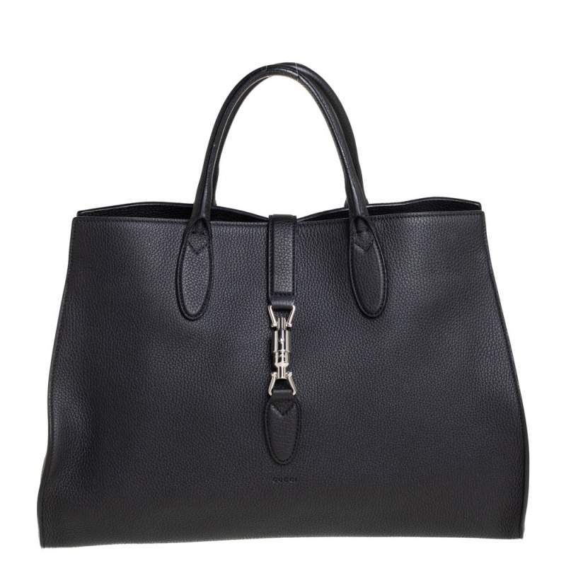 Gucci Black Pebbled Leather Large Jackie Tote