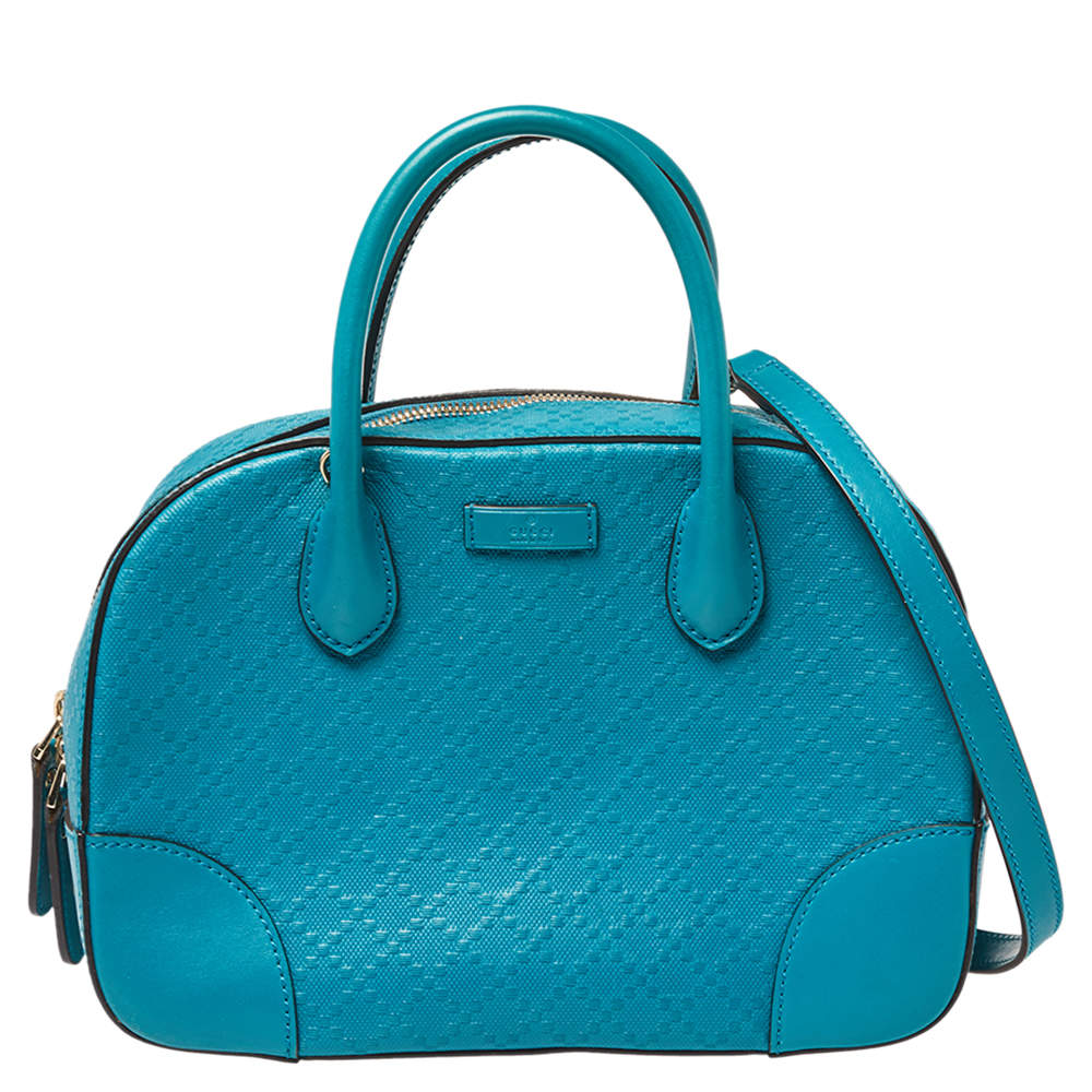 Gucci Blue Diamante Leather Small Satchel