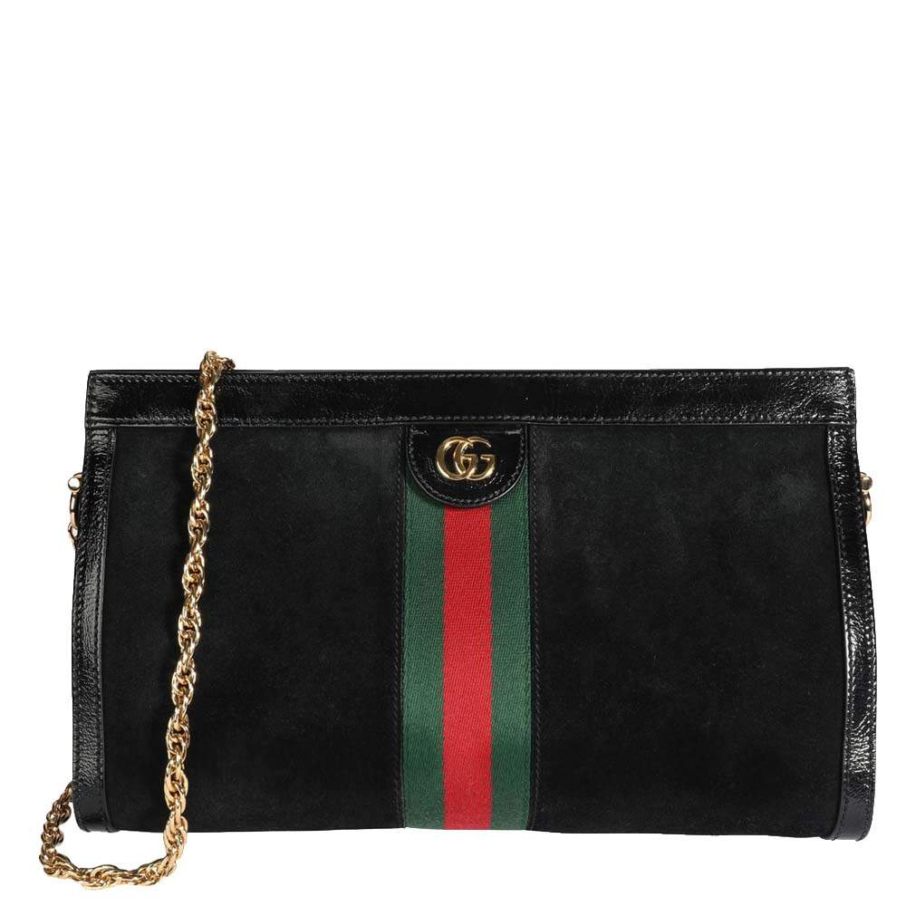 Gucci Black Suede & Patent Leather Ophidia Small Shoulder Bag