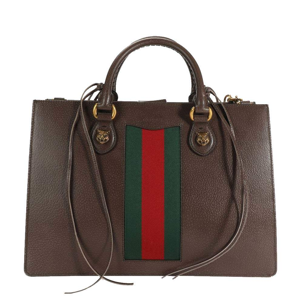 Gucci Brown Leather Animalier Web Top Handle Tote Bag