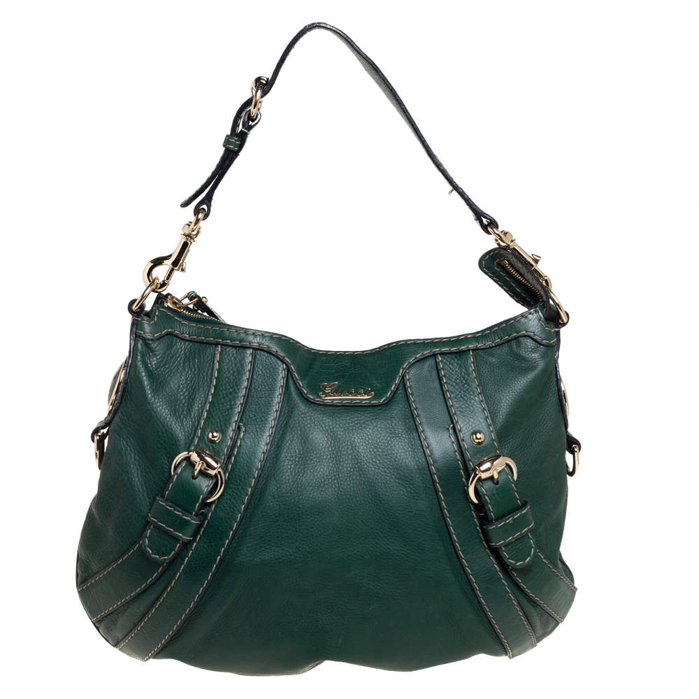 Gucci Green Leather Medium Crest Boule Hobo