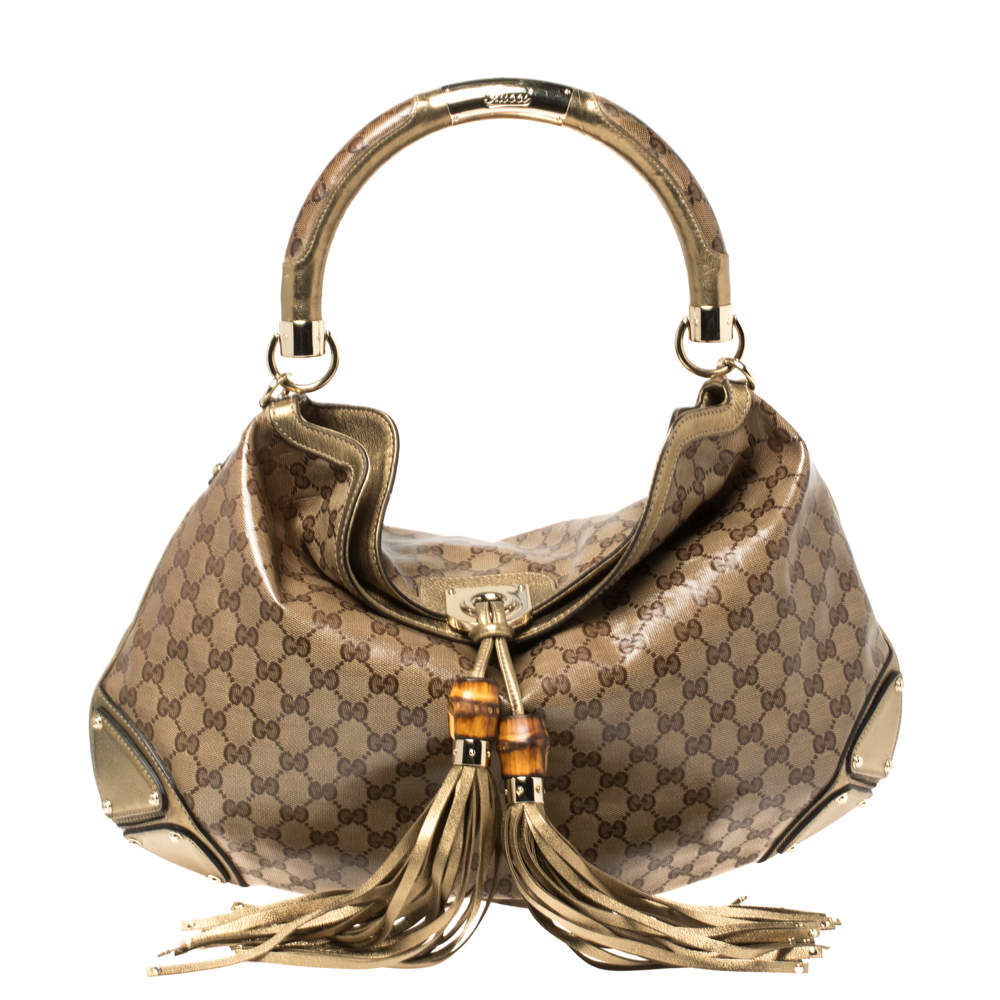 Gucci Beige/Gold GG Crystal Canvas and Leather Large Babouska Indy Hobo