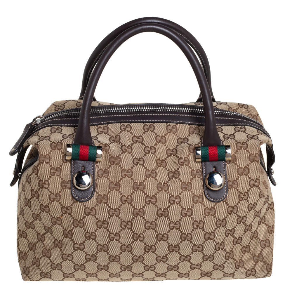 Gucci Beige/Brown GG Canvas and Leather Match Ball Boston Bag