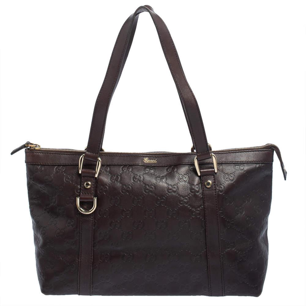 Gucci Dark Brown Guccissima Leather Medium Abbey Tote