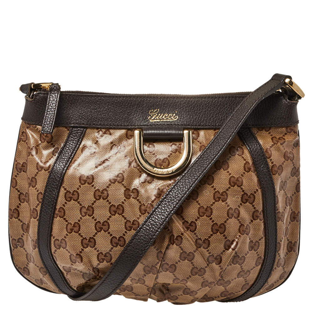 Gucci Beige/Brown Guccissima Patent Leather and Leather Abbey D-Ring Crossbody Bag