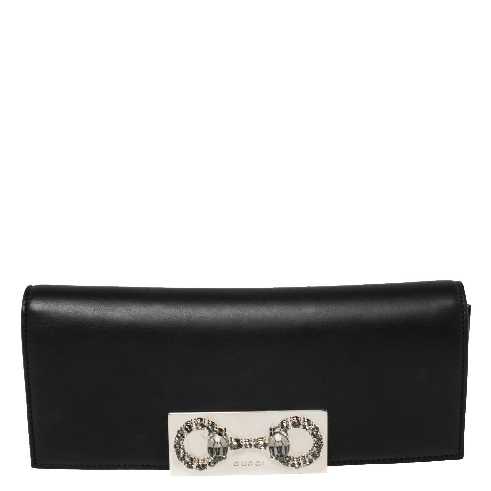 Gucci Black Leather Horsebit Embellished Broadway Clutch