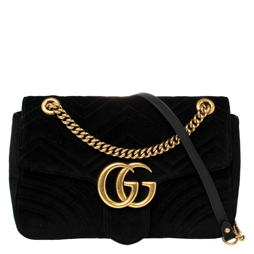 Gucci Black Matelasse Velvet Medium GG Marmont Shoulder Bag