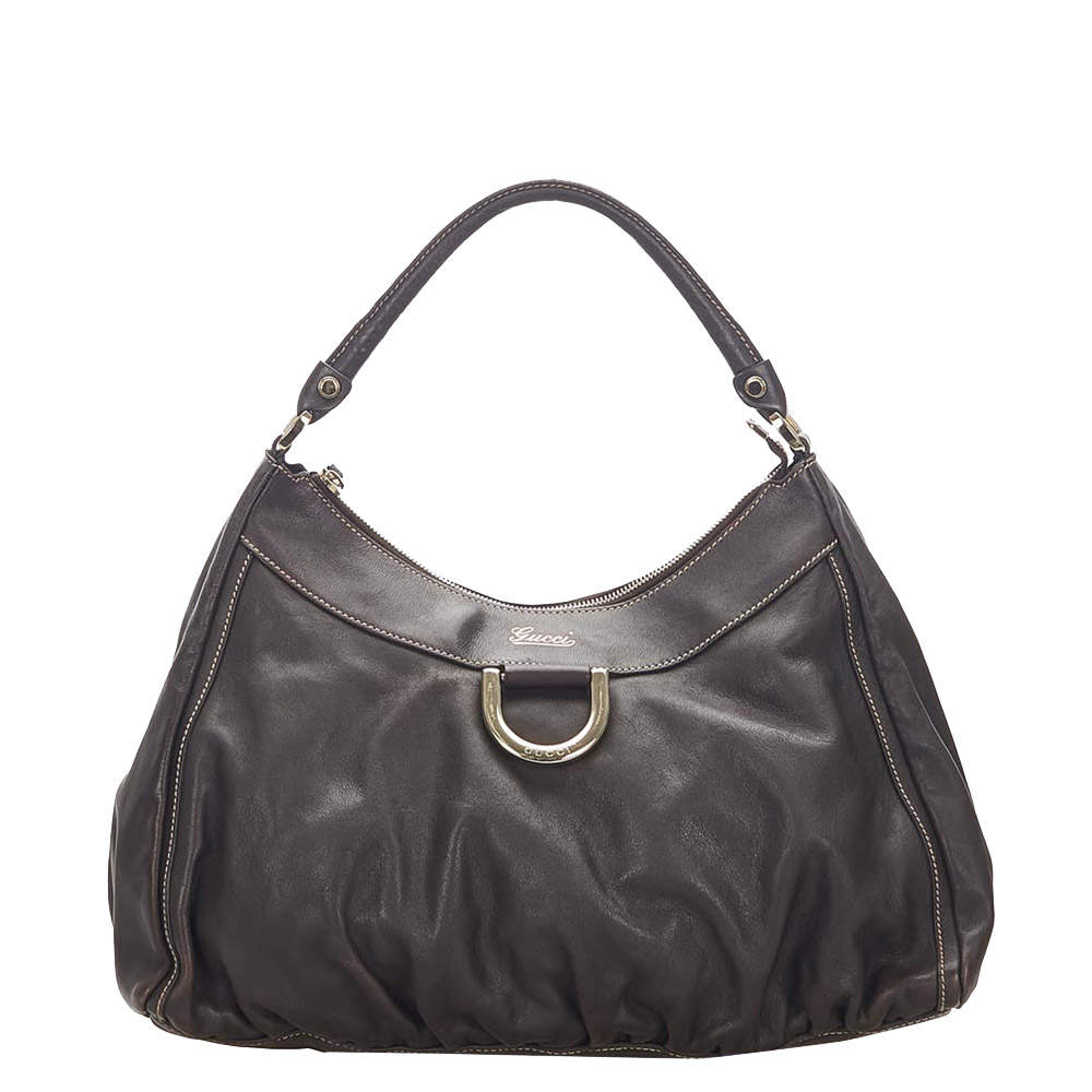 Gucci Brown/Dark Brown Leather Abbey Hobo Bag