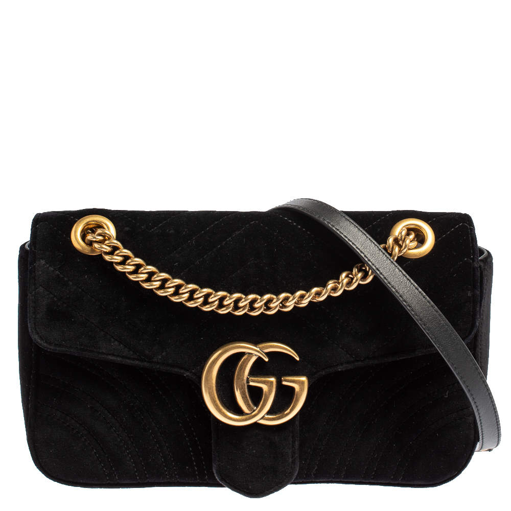 Gucci Black Matelasse Velvet Small GG Marmont Shoulder Bag