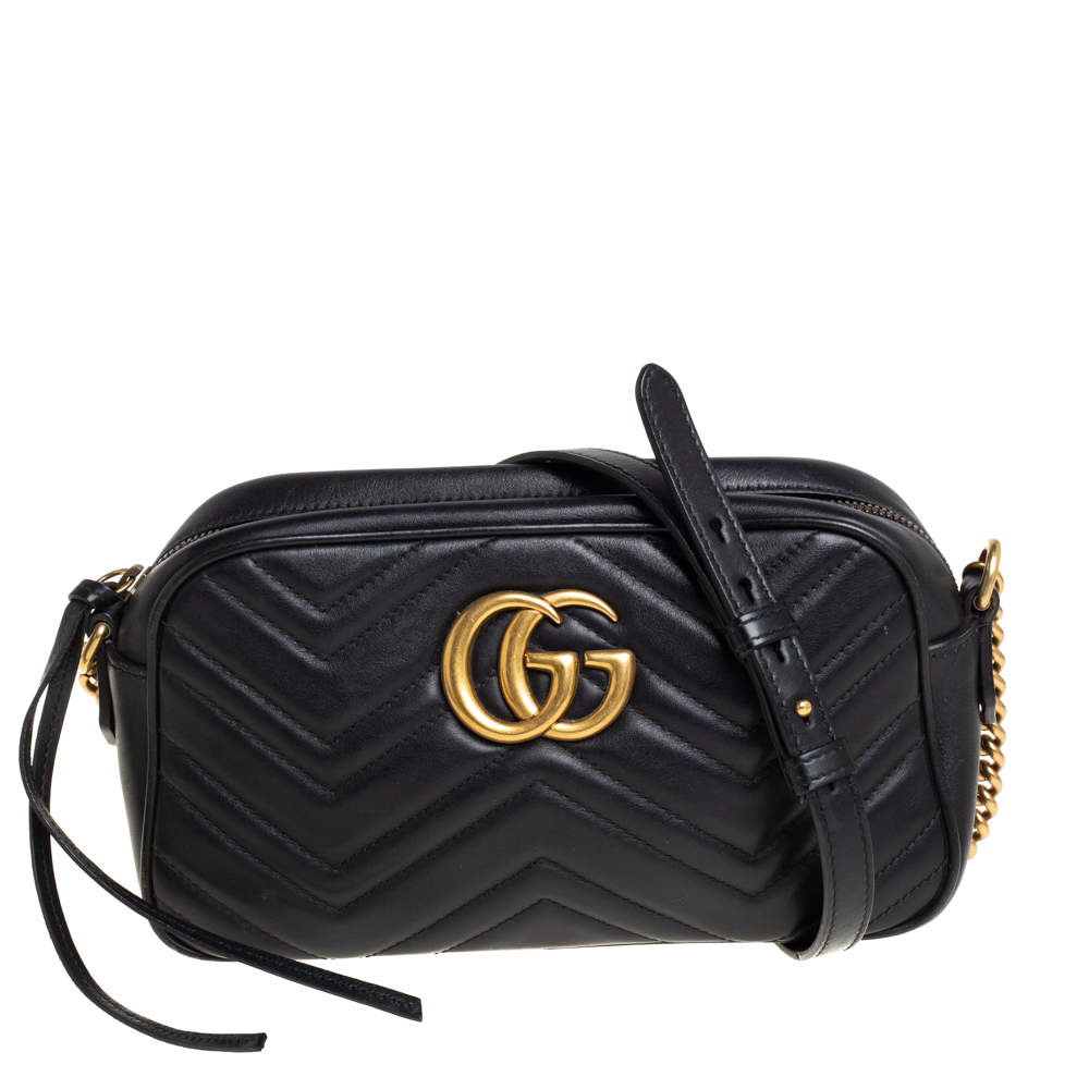 Gucci Black Matelasse Leather Small GG Marmont Shoulder Bag