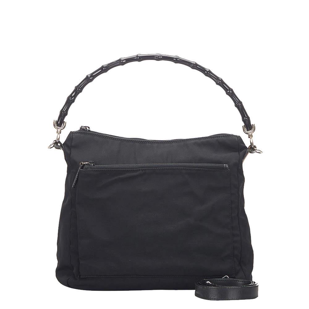Gucci Black Canvas Bamboo Bag