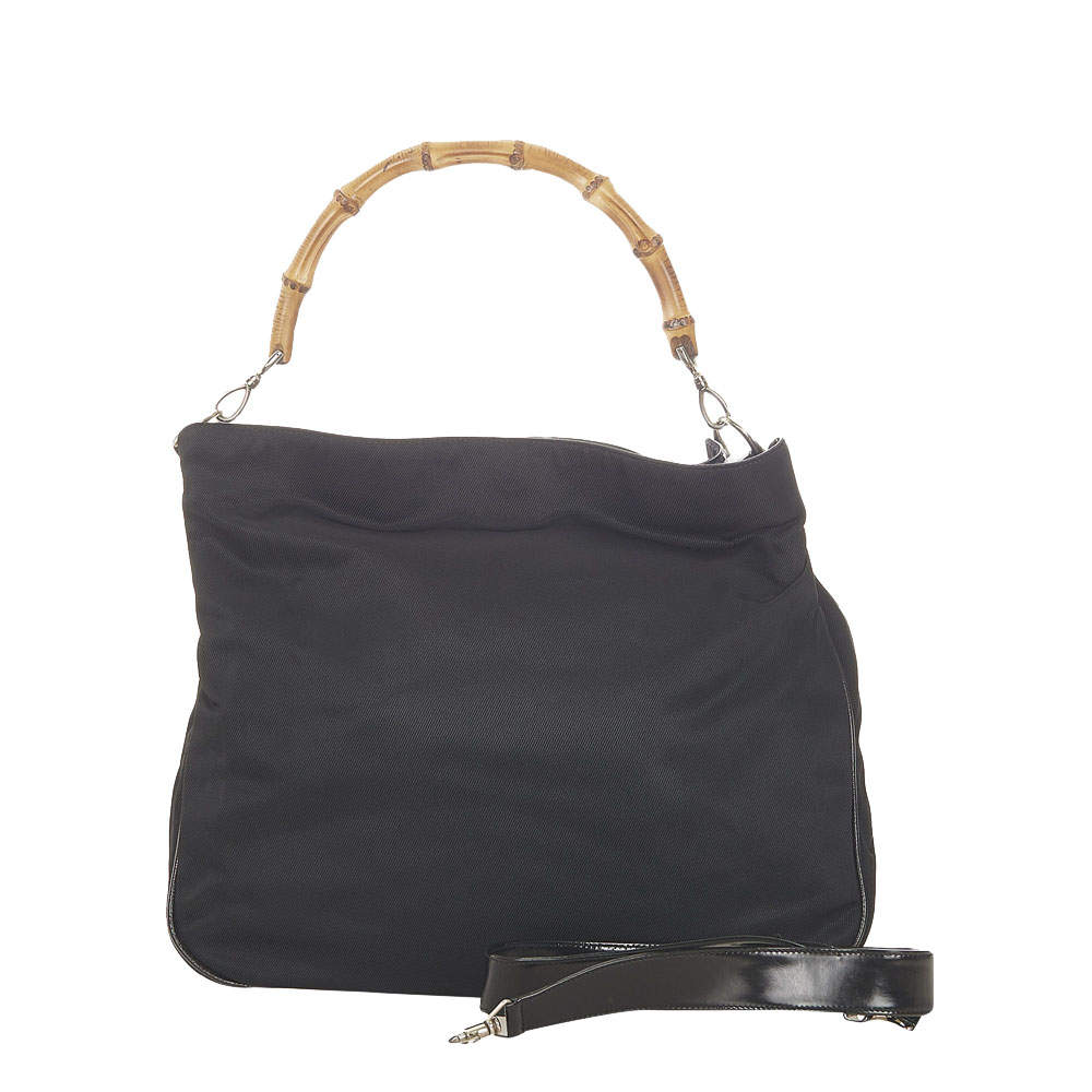 Gucci Black Canvas Bamboo Shoulder Bag
