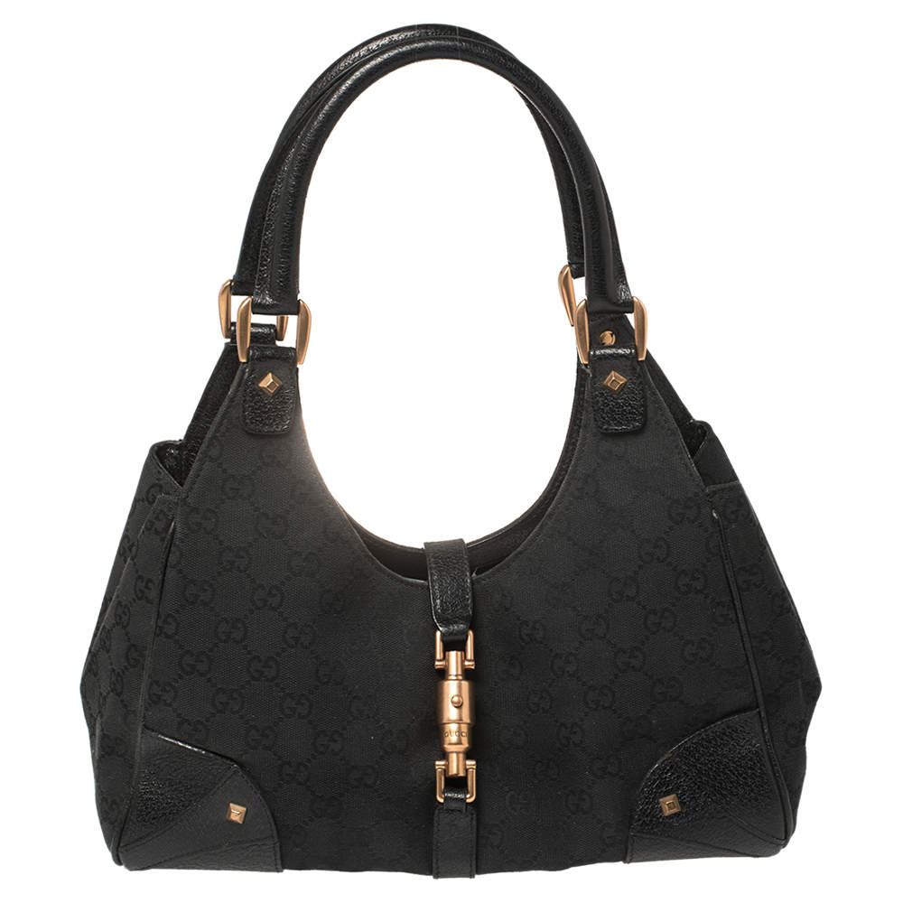 Gucci Black GG Canvas and Leather Jackie Hobo