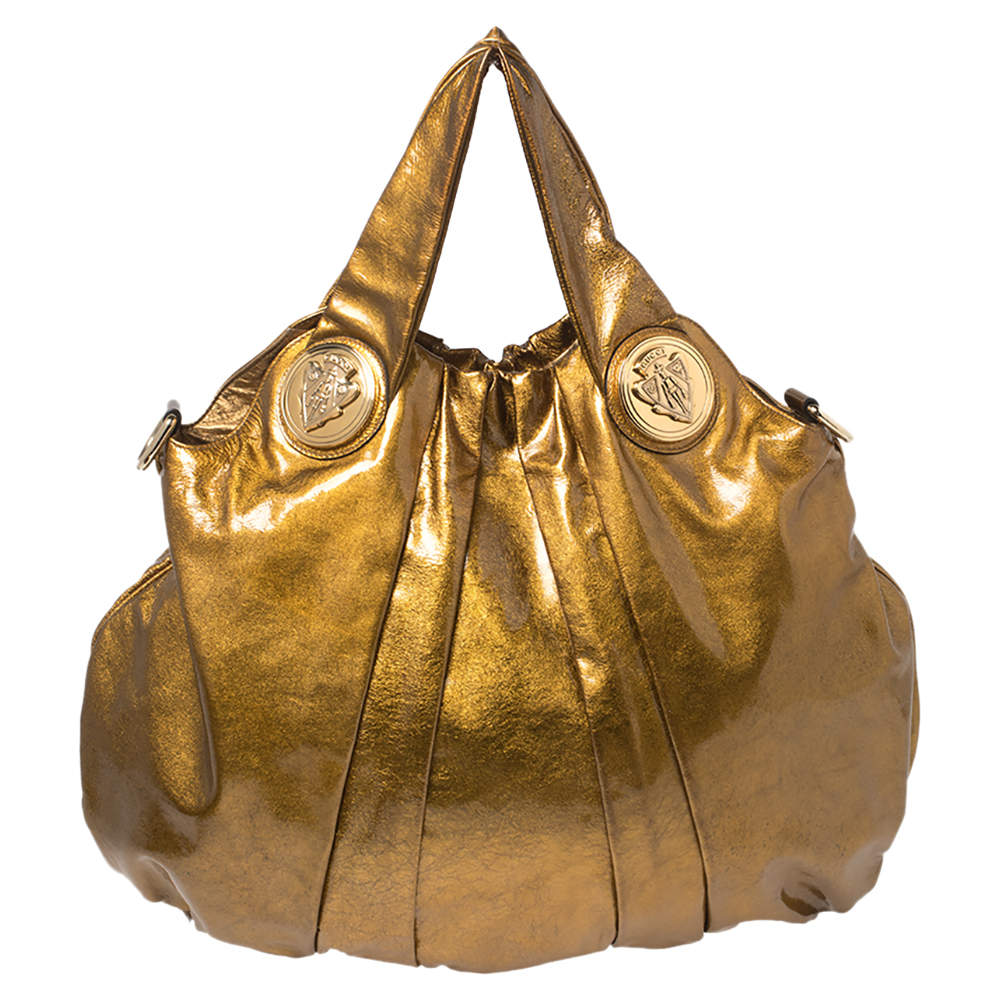 Gucci Metallic Gold Glossy Leather Large Hysteria Hobo