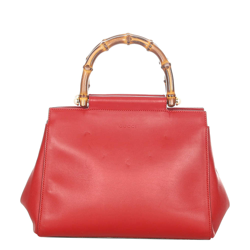 Gucci Red Leather Bamboo Nymphaea Satchel Bag