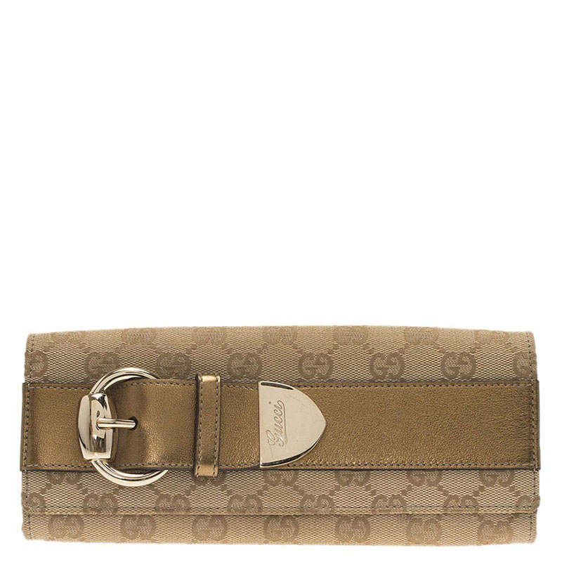 Gucci Beige Guccissima Canvas and Gold Leather Buckle Continental Wallet
