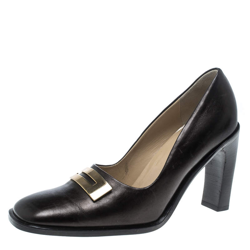 Gucci Brown Leather Block Heel Square Toe Pumps Size 39