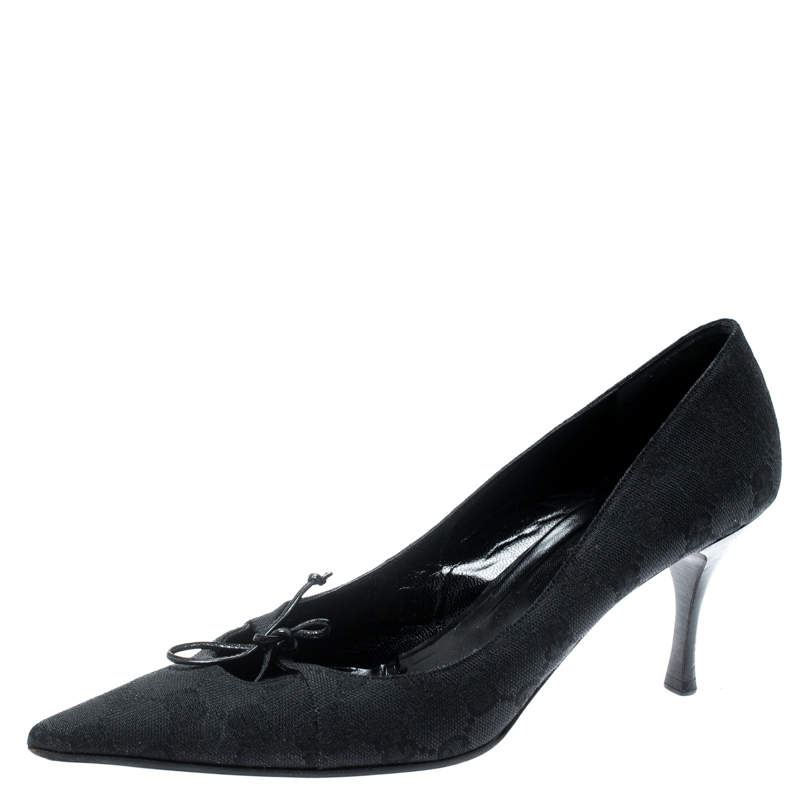 Gucci Black GG Canvas Bow Pointed Toe Pumps Size 38.5