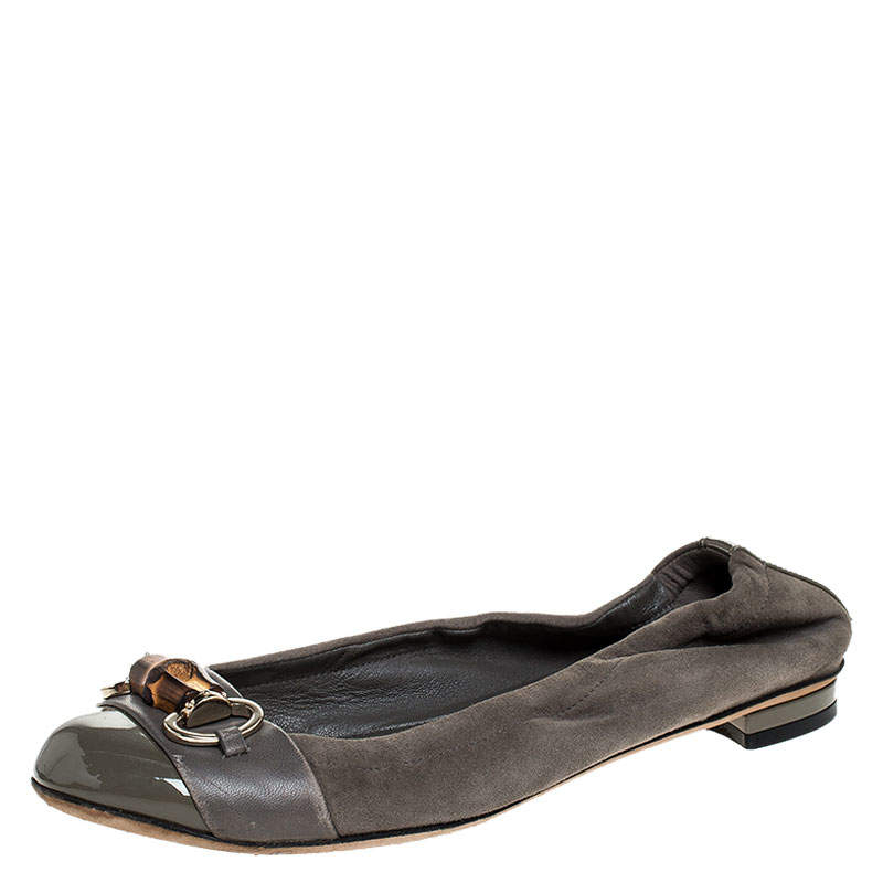 Gucci Grey Suede, Patent And Leather Bamboo Horsebit Ballet Flats Size 36.5