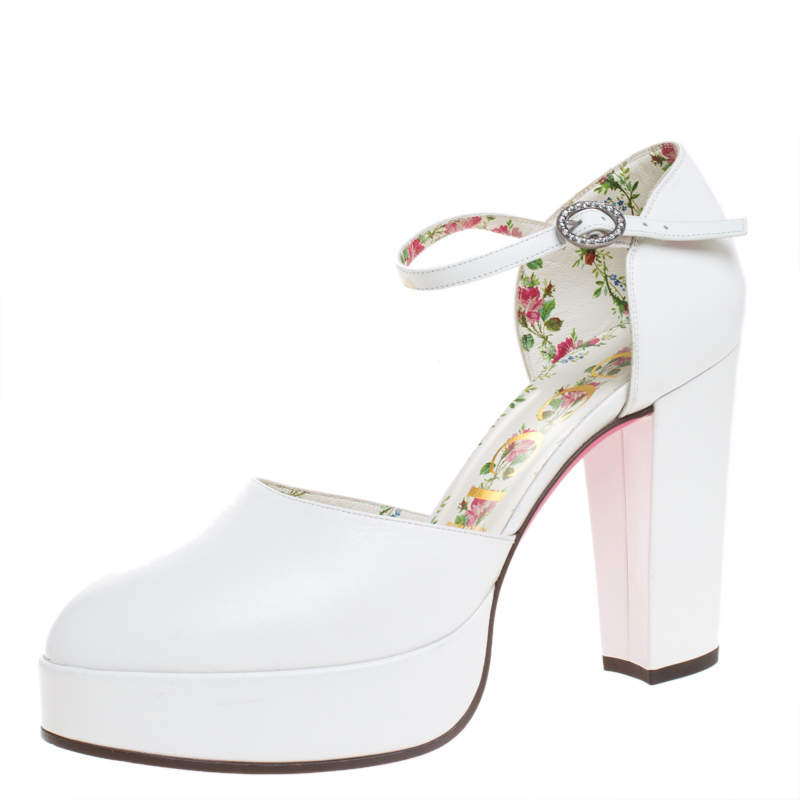 Gucci White Leather Agon Block Heel Platform Pumps Size 39