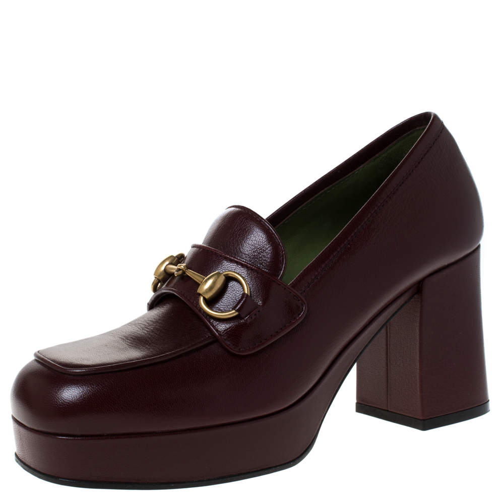 Gucci Maroon Leather Horsebit Platform Loafers Size 38