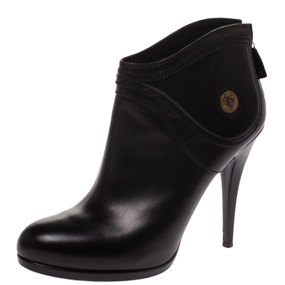 Gucci Black Leather 'Hysteria' Ankle Booties Size 41