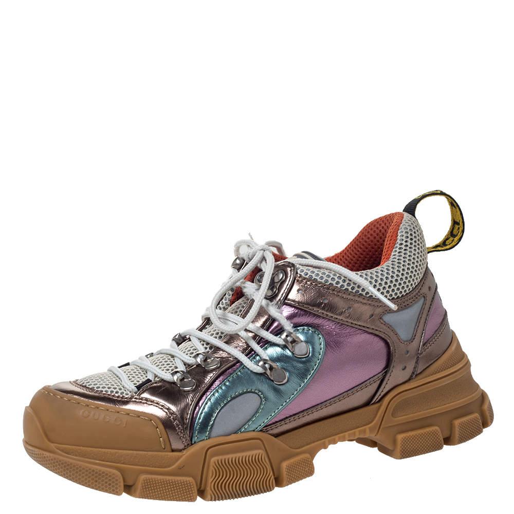 حذاء رياضي غوتشي منخفض من أعلي فلاش تريك شبك وجلد متعدد الألوان مقاس 38.5