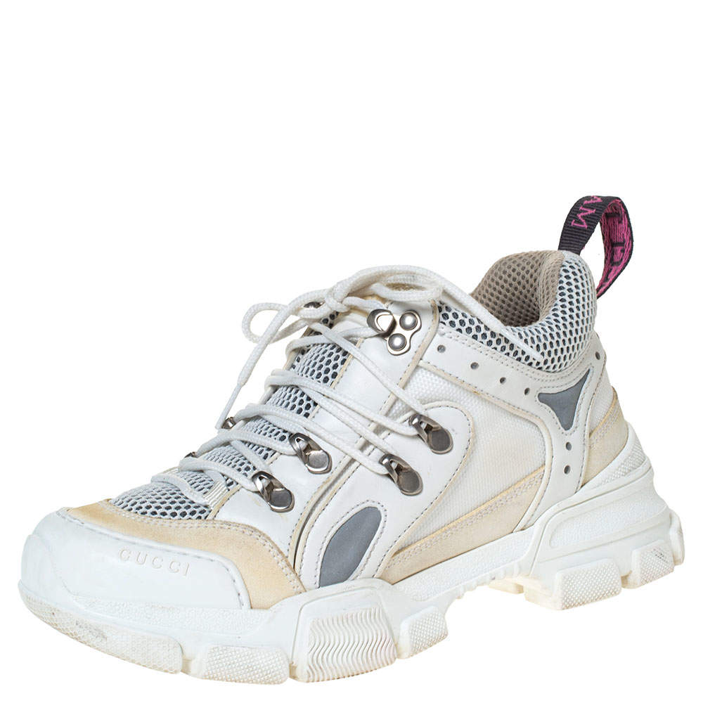 Gucci White/Cream Mesh and Leather Flashtrek Sneakers Size 37