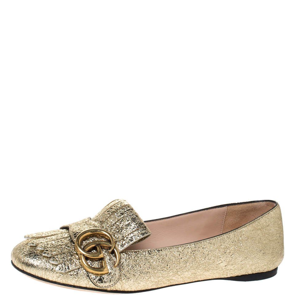 Gucci Metallic Gold Foil Leather GG Marmont Fringe Detail Flats Size 35