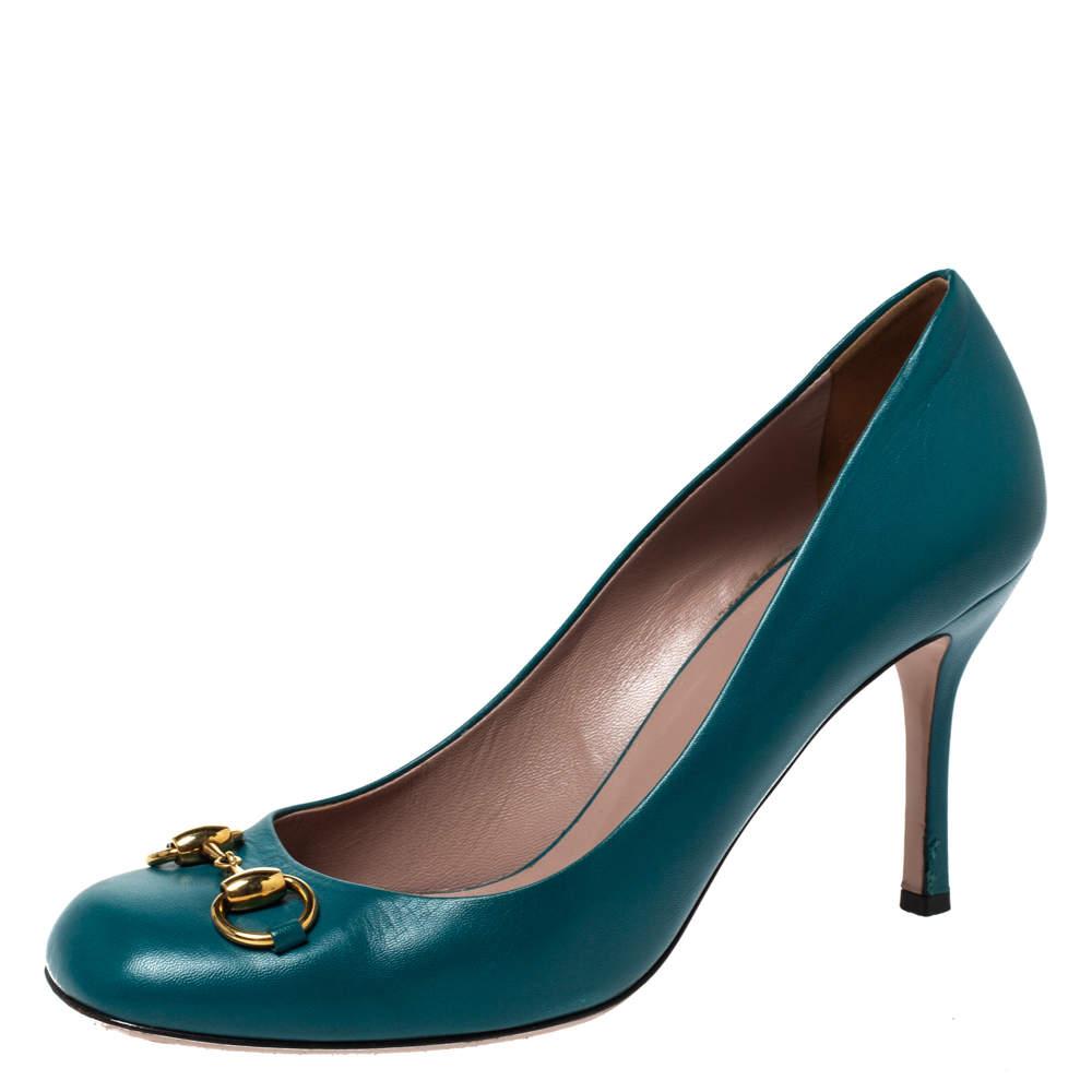 Gucci Turquoise Leather Jolene Horsebit Pumps Size 40