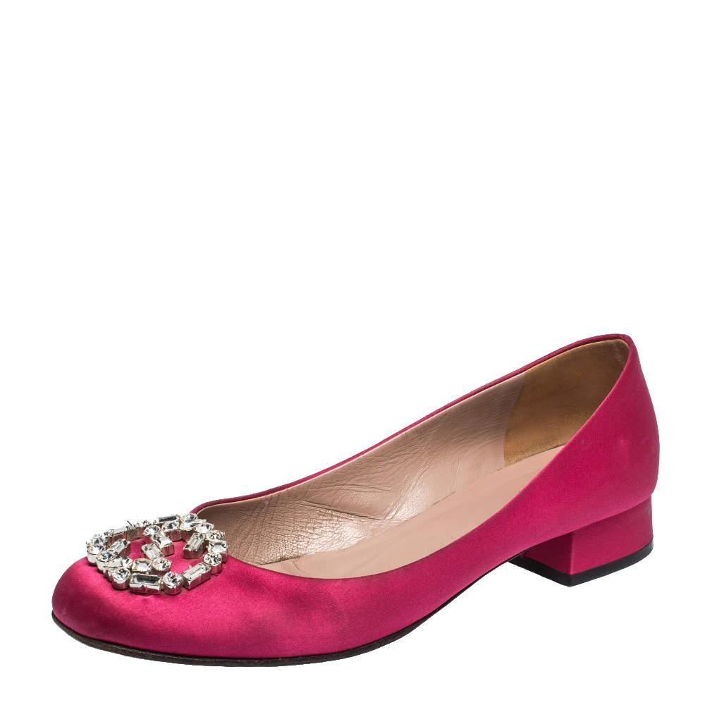 Gucci Magenta Satin GG Crystal Ballet Flats Size 38.5