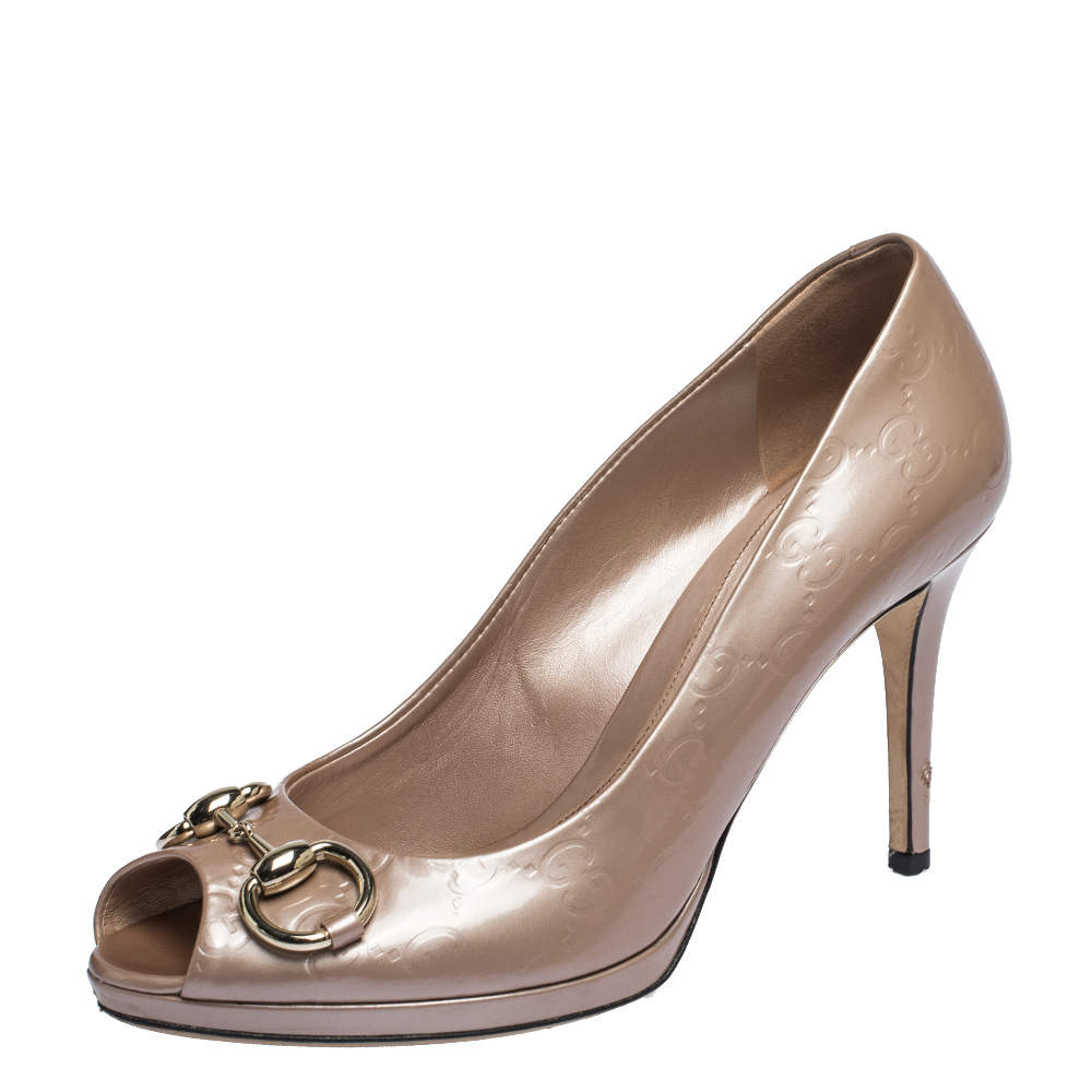Gucci Cipria Pink Guccissima Patent Leather Horsebit Peeptoe Pumps Size 38